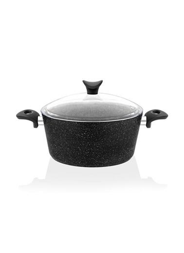 Taç Ekstra Cook 4lü 7 Parça Granit Tencere Seti Siyah Siyah